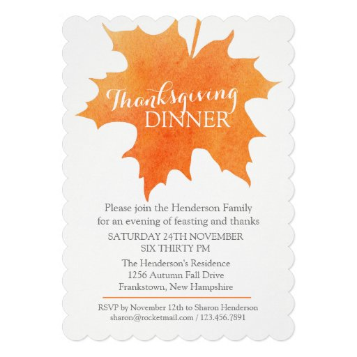 Fall thanksgiving dinner invite watercolor leaf
