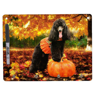 Fall Thanksgiving - Gidget - Poodle Dry Erase Board With Key Ring Holder