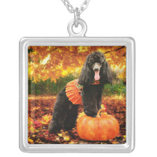 Fall Thanksgiving - Gidget - Poodle Silver Plated Necklace