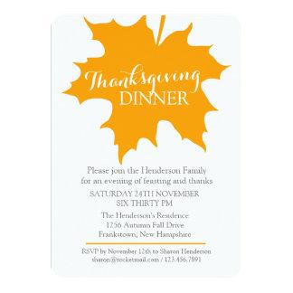 Fall thanksgiving maple leaf Dinner invitation