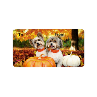 Fall Thanksgiving - Max & Leo - Yorkies Address Label