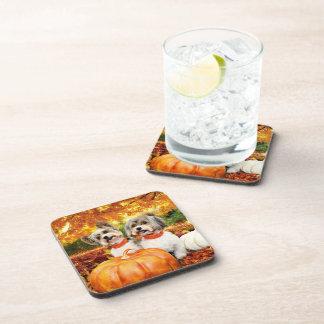 Fall Thanksgiving - Max & Leo - Yorkies Beverage Coasters
