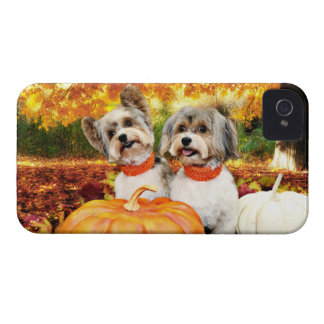 Fall Thanksgiving - Max & Leo - Yorkies Case-Mate iPhone 4 Cases
