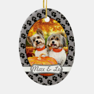 Fall Thanksgiving - Max & Leo - Yorkies Ceramic Oval Decoration