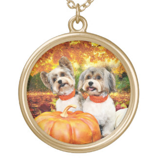 Fall Thanksgiving - Max & Leo - Yorkies Gold Plated Necklace