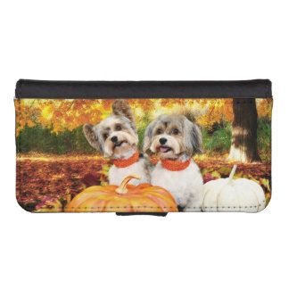 Fall Thanksgiving - Max & Leo - Yorkies iPhone SE/5/5s Wallet Case