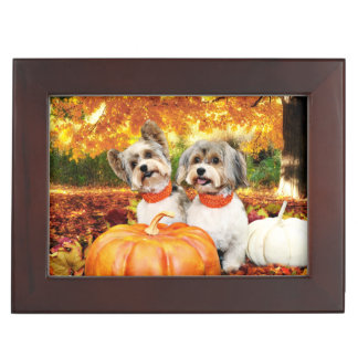 Fall Thanksgiving - Max & Leo - Yorkies Keepsake Box