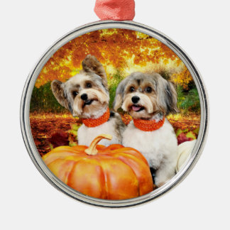 Fall Thanksgiving - Max & Leo - Yorkies Silver-Colored Round Decoration