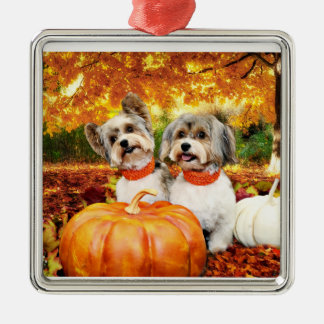 Fall Thanksgiving - Max & Leo - Yorkies Silver-Colored Square Decoration