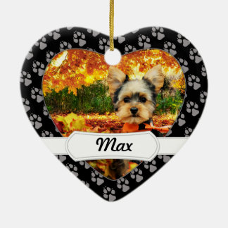 Fall Thanksgiving - Max - Yorkie Ceramic Heart Decoration