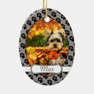 Fall Thanksgiving - Max - Yorkie Ceramic Oval Decoration