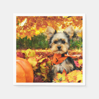 Fall Thanksgiving - Max - Yorkie Disposable Serviette