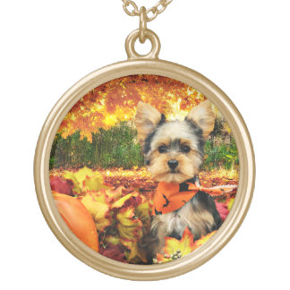 Fall Thanksgiving - Max - Yorkie Gold Plated Necklace