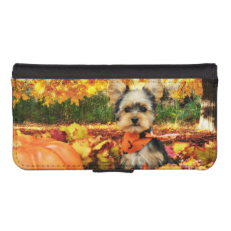 Fall Thanksgiving - Max - Yorkie iPhone SE/5/5s Wallet Case