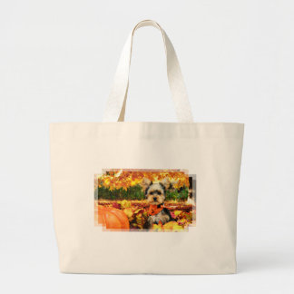 Fall Thanksgiving - Max - Yorkie Large Tote Bag