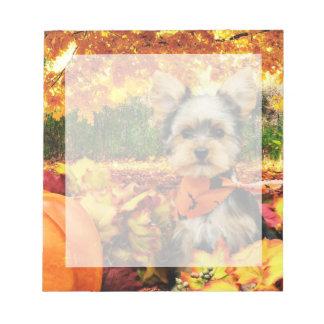 Fall Thanksgiving - Max - Yorkie Notepad