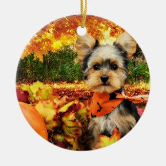 Fall Thanksgiving - Max - Yorkie Round Ceramic Decoration