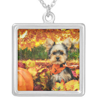 Fall Thanksgiving - Max - Yorkie Silver Plated Necklace