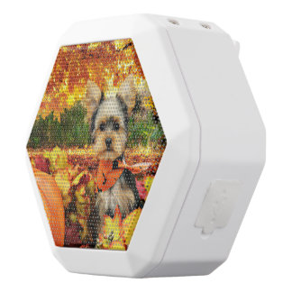 Fall Thanksgiving - Max - Yorkie White Bluetooth Speaker