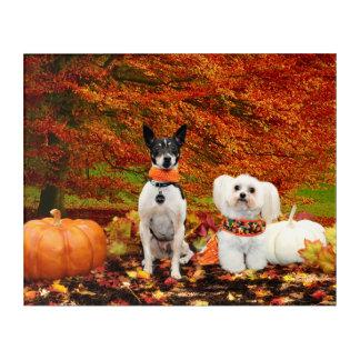 Fall Thanksgiving - Monty Fox Terrier & Milly Malt Acrylic Print