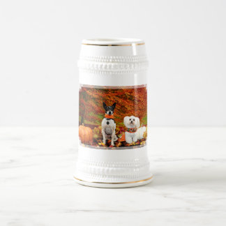 Fall Thanksgiving - Monty Fox Terrier & Milly Malt Beer Stein