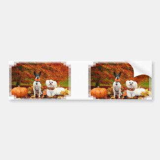 Fall Thanksgiving - Monty Fox Terrier & Milly Malt Bumper Sticker