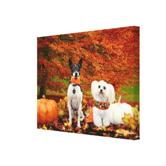 Fall Thanksgiving - Monty Fox Terrier & Milly Malt Canvas Print