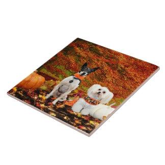 Fall Thanksgiving - Monty Fox Terrier & Milly Malt Ceramic Tile