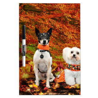 Fall Thanksgiving - Monty Fox Terrier & Milly Malt Dry-Erase Board