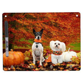 Fall Thanksgiving - Monty Fox Terrier & Milly Malt Dry Erase Board With Key Ring Holder