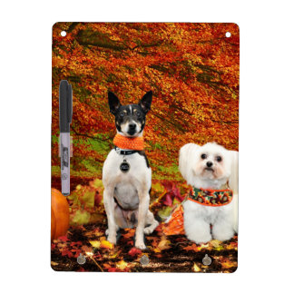 Fall Thanksgiving - Monty Fox Terrier & Milly Malt Dry Erase Whiteboard