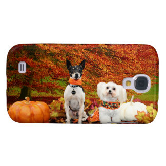 Fall Thanksgiving - Monty Fox Terrier & Milly Malt Galaxy S4 Cover