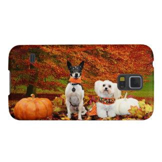 Fall Thanksgiving - Monty Fox Terrier & Milly Malt Galaxy S5 Case