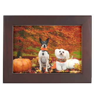 Fall Thanksgiving - Monty Fox Terrier & Milly Malt Keepsake Box