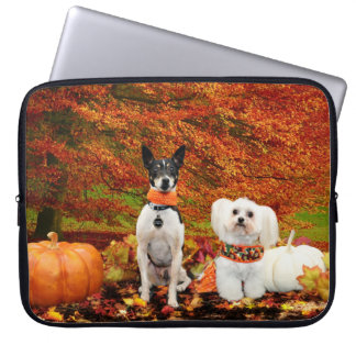 Fall Thanksgiving - Monty Fox Terrier & Milly Malt Laptop Sleeve