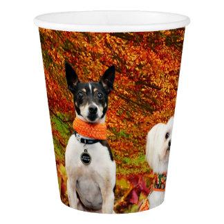 Fall Thanksgiving - Monty Fox Terrier & Milly Malt Paper Cup