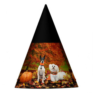 Fall Thanksgiving - Monty Fox Terrier & Milly Malt Party Hat
