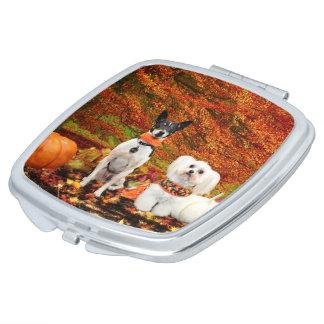 Fall Thanksgiving - Monty Fox Terrier & Milly Malt Vanity Mirrors
