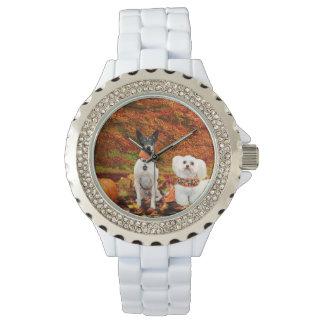 Fall Thanksgiving - Monty Fox Terrier & Milly Malt Wrist Watch
