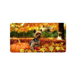 Fall Thanksgiving - Tucker - Yorkie Address Label