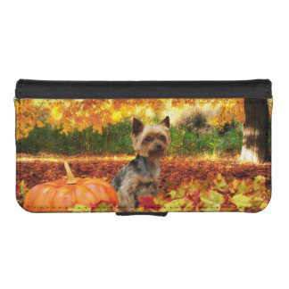 Fall Thanksgiving - Tucker - Yorkie iPhone SE/5/5s Wallet Case