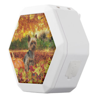 Fall Thanksgiving - Tucker - Yorkie White Bluetooth Speaker