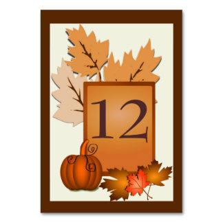Fall Theme Wedding Table Number