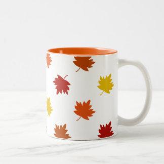 Fall-Themed Mug - Big Polka Maple Leaves