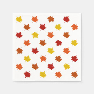 Fall-Themed Napkins - Polka Maple Leaves Disposable Napkins