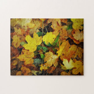 Fall-Themed Puzzle - Golden Leaves