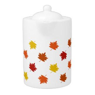 Fall-Themed Teapot - Polka Maple Leaves