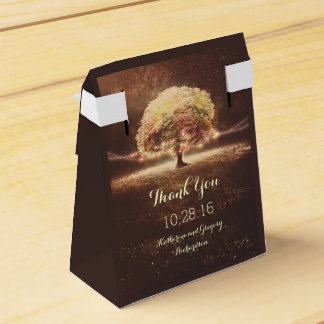 Fall Tree and Rustic String Lights Dreamy Wedding Party Favour Boxes