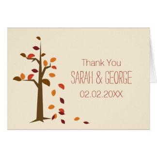 Fall, tree fall wedding Thank You Greeting Card