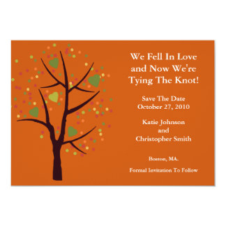"Fall Tree Fell in Love Save The Date Announcement 5"" X 7"" Invitation Card"